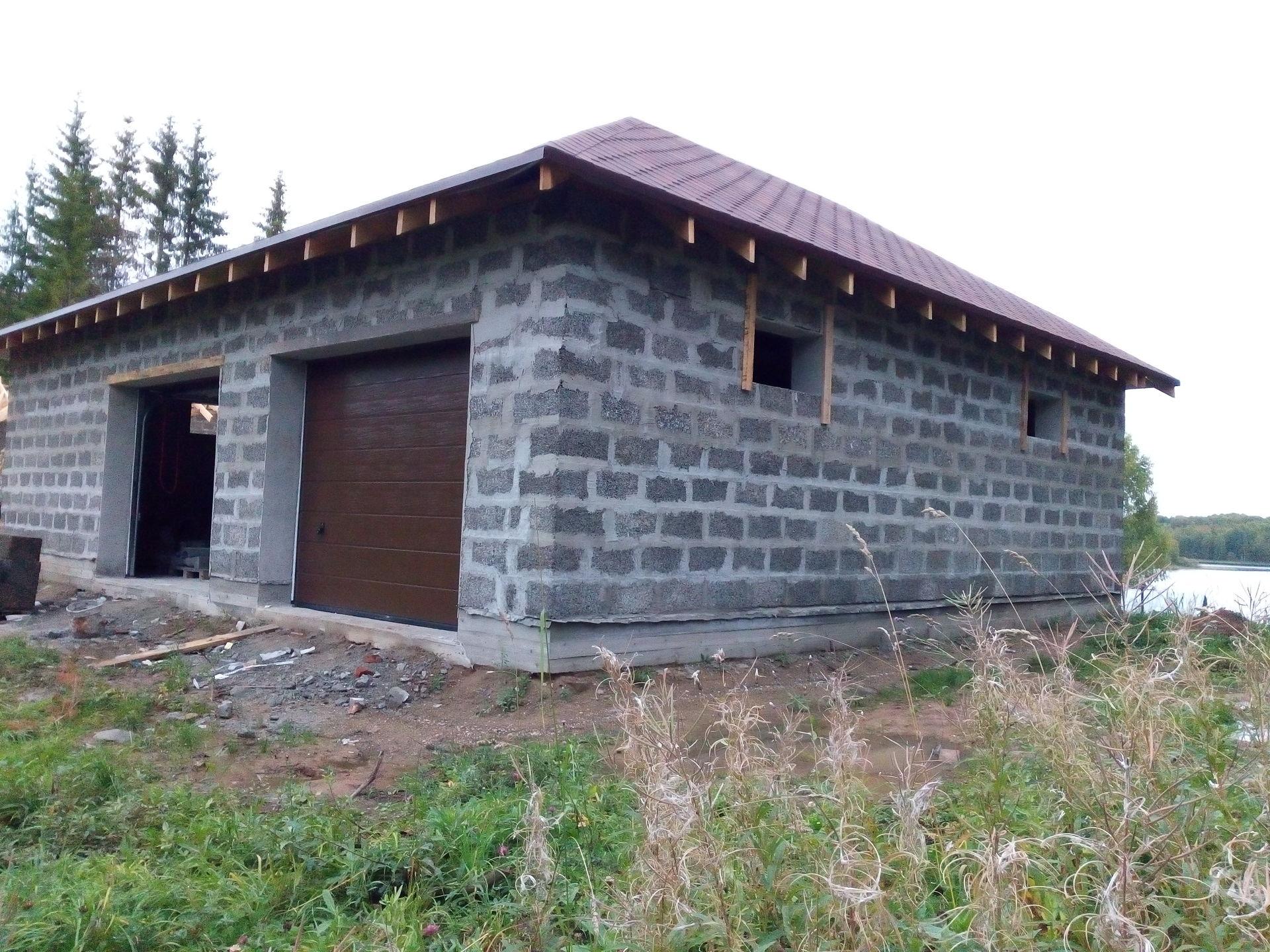 Строительство гаража из керамзитобетонных блоков своими руками 4